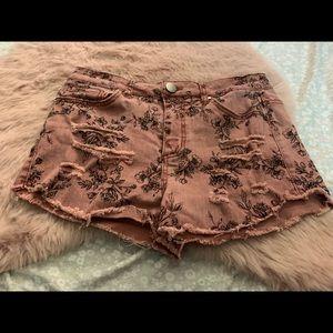 Love fire pink denim shorts